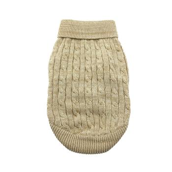 Dog Sweater Beige Cable Knit