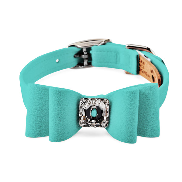 big bow collar teal green