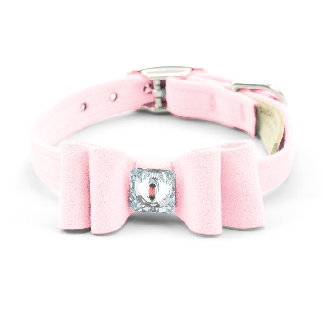 big bow collar puppy pink