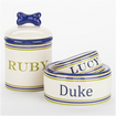 Dog Bowl & Teat Jar Ceramic Stripe White, Blue & Green (Dog's name can be personalized)