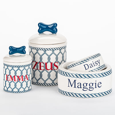 Dog Bowl & Treat Jar Ceramic Nautical
