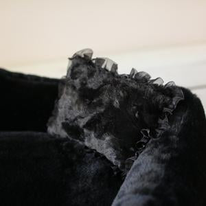 Luxury Designer Dog Bed Black Plush with Pillow