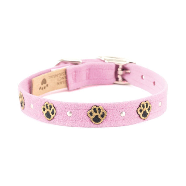 Embroidered Paws Collar puppy pink