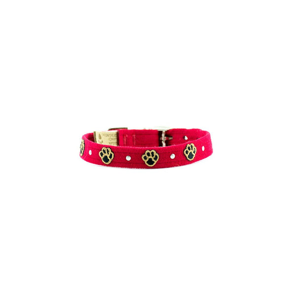 Embroidered Paws Collar red