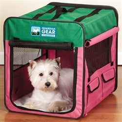 Dog Soft Crate Soft Collapsible by Guardian Gear® Small Pink Green