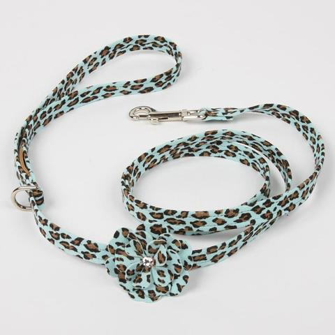 Luxury Dog Leash Blue Cheetah Couture Swarovski Crystals® Ultrasuede®