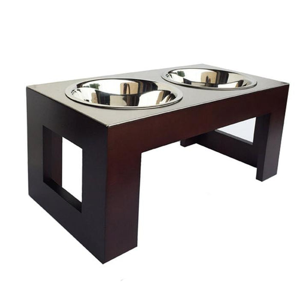 Modern Natural and Walnut Wood Elevated Dog Diner Double Bowls