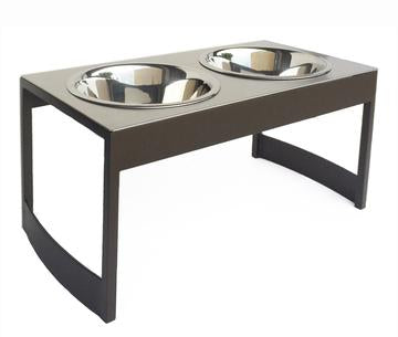 Modern Steel Elevated Dog Diner Double Bowls Brown, White