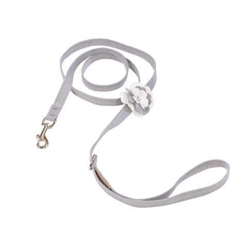 Luxury Dog Leash Grey White Flower Ultrasuede Swarovski® Crystal
