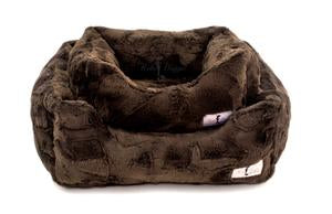 Luxury Dog Bed Plush Chocolate Brown