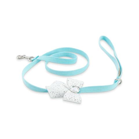 Luxury Dog Leash Blue Heart Swarovski Crystal® Ultrasuede®