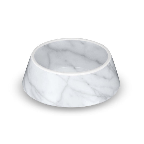 Dog Bowl Faux Carrara Marble Melamine by TarHong