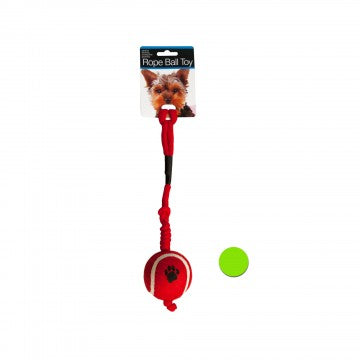 Dog Toy Paw Print Tennis Ball with Rope Red or Green