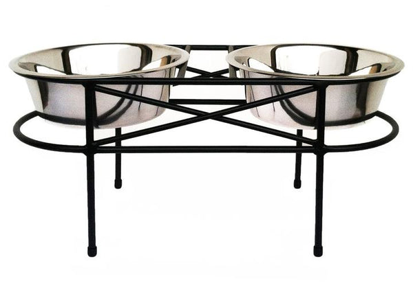 Contemporary Circular Elevated Dog Diner Double Bowls Black & Cherry
