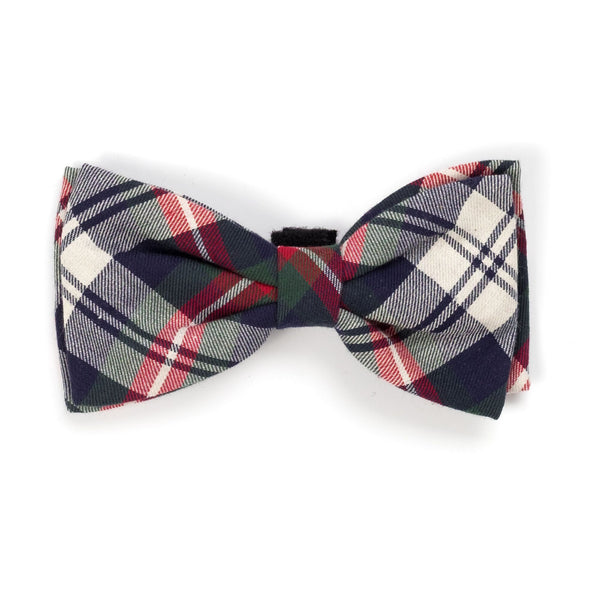 Dog Bow Tie Navy Plaid Collar Attachment
