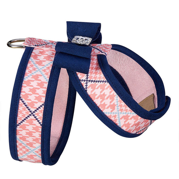 Peaches N' Cream Glen Houndstooth Tinkie Harness with Big Bow and Trim side view