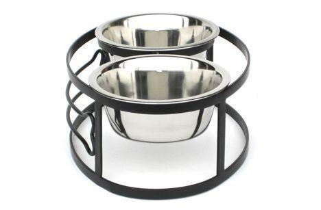 Contemporary Bone Circular Elevated Dog Diner Double Bowls Black