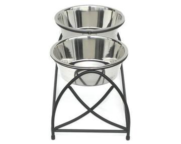 Contemporary Dome Elevated Dog Diner Double Bowls Black