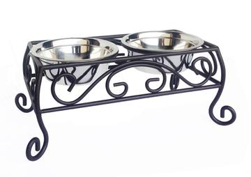 Designer Euro Classic Bronze Elevated Dog Diner Double Bowls