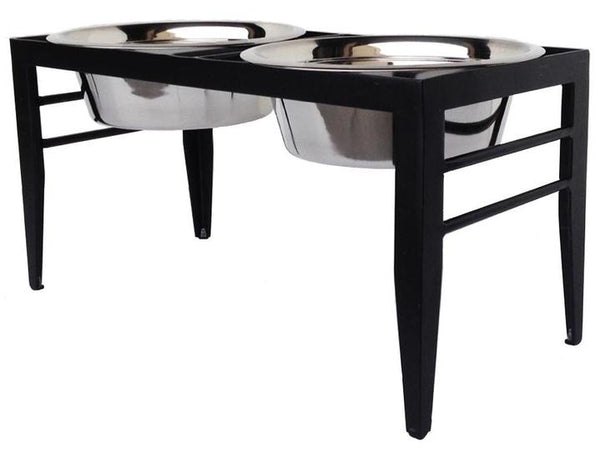 Designer Minimalist Elevated Dog Diner Double Bowls Black or White