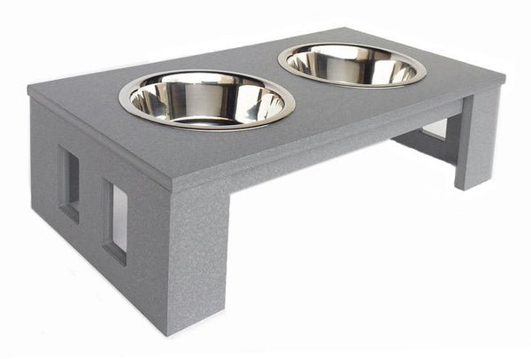 Outdoor Elevated Dog Diner Double Bowls Grey & Mocha