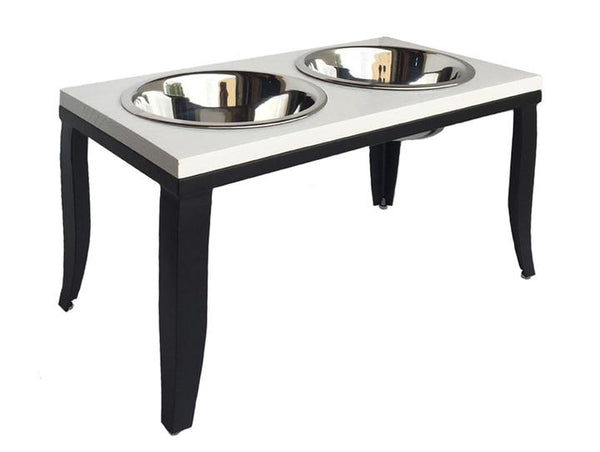 Designer White and Black Elevated Dog Diner Double Bowls
