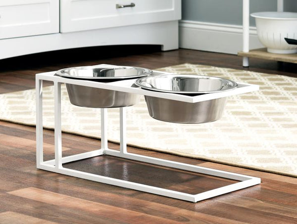 Contemporary White Steel Elevated Dog Diner Double Bowls