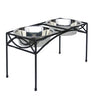 Elegant Elevated Dog Diner Double Bowls Black