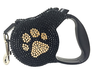 Dog Leash Retractable Black Gold Crystals Paw Print by Parisian Pet