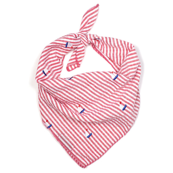 Sailor Dog Bandana Sailboat Embroidered Red, White, Blue Small & Large