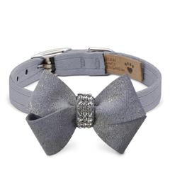 Luxury Dog Collar  Platinum Grey Bow Ultrasuede® Swarovski Crystals®