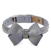 Luxury Dog Collar Platinum Grey Swarovski® Crystals Ultrasuede®