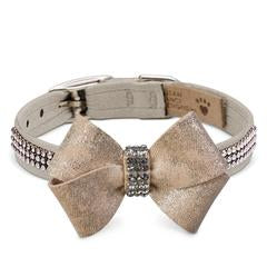 Luxury Dog Collar Champagne Gold Swarovski Crystals® Ultrasuede®