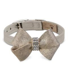Luxury Dog Collar Champagne Gold Ultrasuede® Swarovski Crystals®