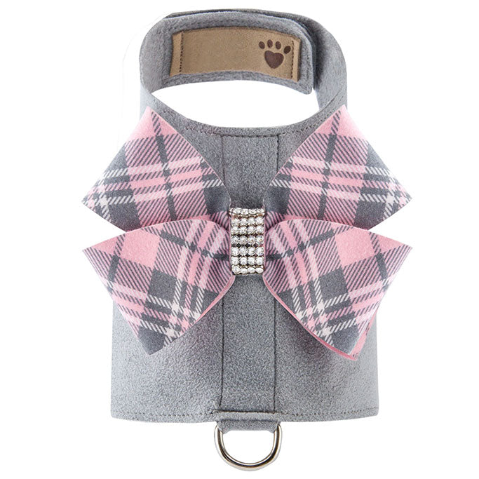 Scotty Bailey Harness Puppy Pink Plaid Nouveau Bow platinum front view