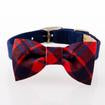 Luxury Dog Harness Blue Red Plaid Bow Ultrasuede® Swarovski Crystal®