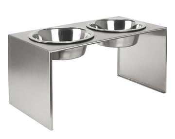 Designer Brushed Stainless Steel Elevated Dog Diner Double Bowls