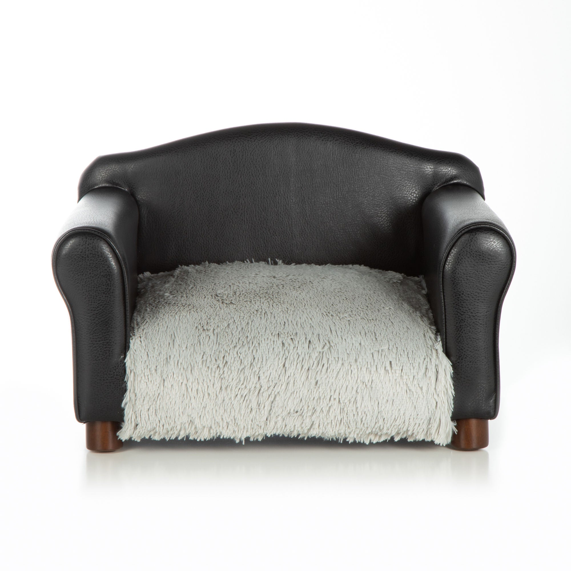Dog Bed Black Chair Orthopedic Grey Shaggy Cushion by Club Nine Pets