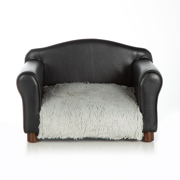 Dog Bed Black Chair Orthopedic Grey Shaggy Cushion