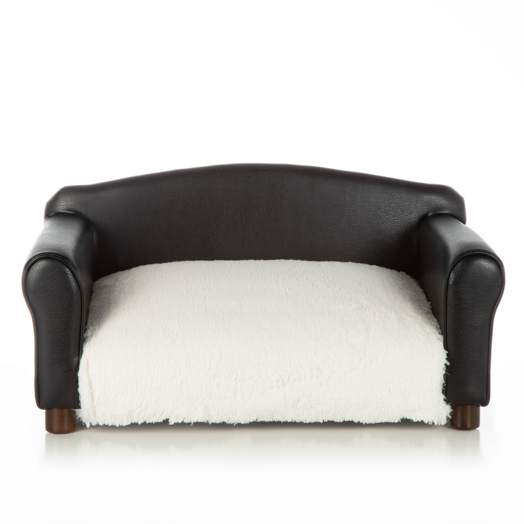 Dog Bed Black Couch Orthopedic White Shaggy Cushion by Club Nine Pets
