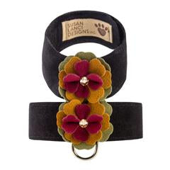 Luxury Dog Harness Autumn Flowers Ultrasuede® Burgundy Yellow Green