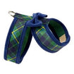 Luxury Dog Harness Plaid Green Blue with Bow Ultrasuede®