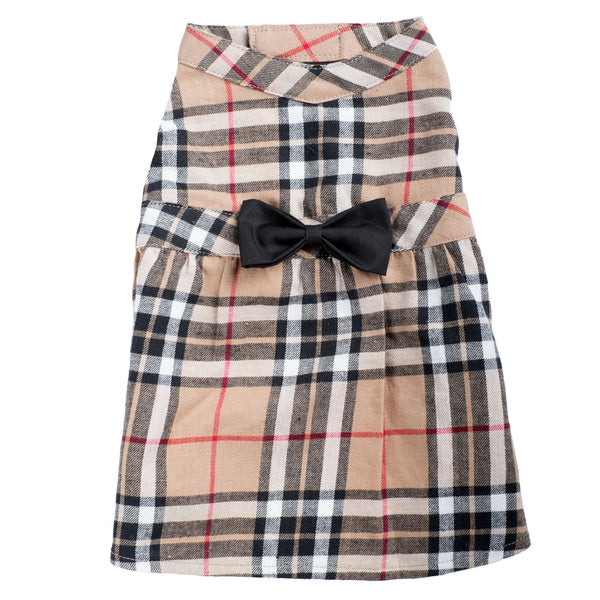 Dog Dress Tan Beige Plaid