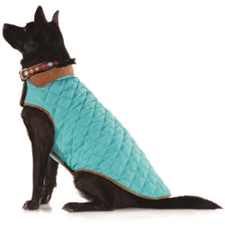 Dog Coat Aqua Blue and Brown Diamond Quilted