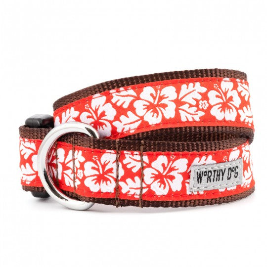 Dog Collar Aloha Flowers Red White