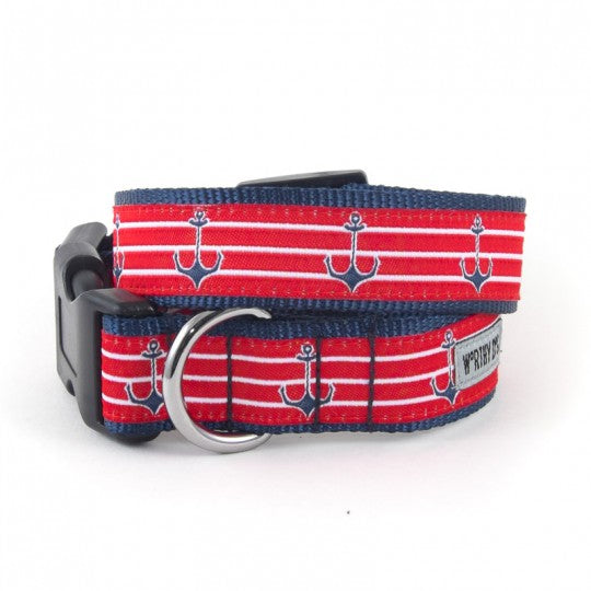 Dog Collar Anchors Red White Blue