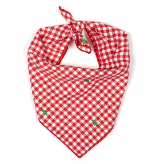 Dog Bandana Embroidered Red White Check Green Tree