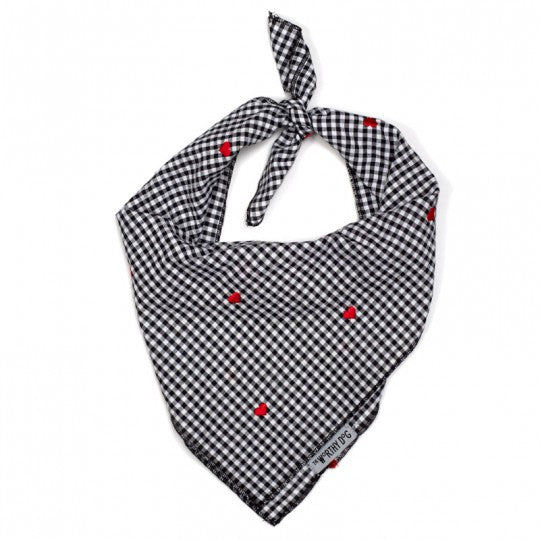 Dog Bandana Black White Check with Hearts
