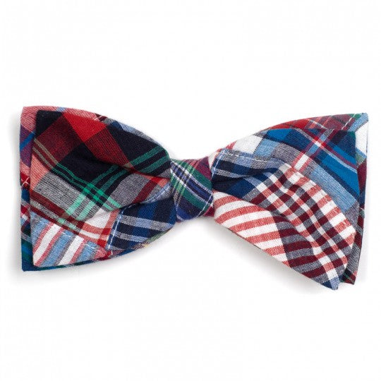 Dog Bow Tie Madras Plaid Collar Attachment