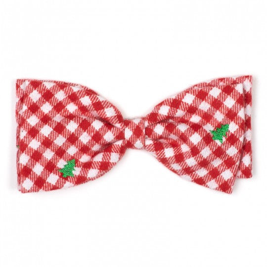 Dog Bow Tie Red Green Christmas Trees Collar Attachment